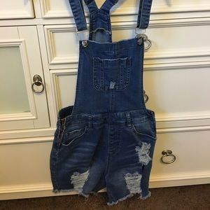 Denim Overall Shorts, Distressed